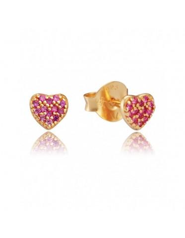 Pendientes Viceroy mujer de plata chapada forma corazón cristales rosas