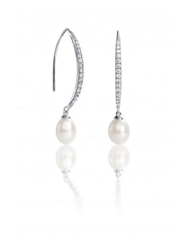 Pendientes Viceroy mujer de plata, tipo arete con circonitas y perla