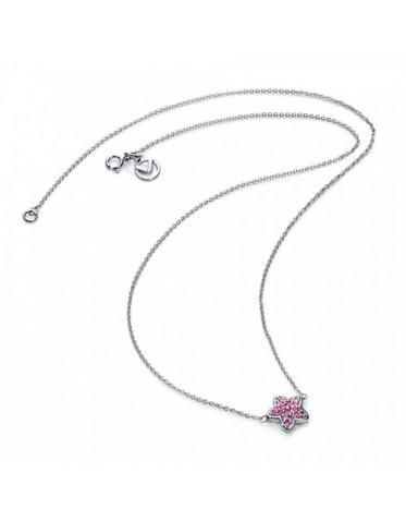 Collar Viceroy mujer de plata con colgante forma estrella con circonitas rosas