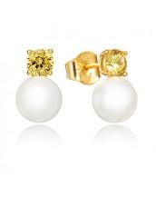 Pendientes Viceroy mujer de plata dorada con circonita y perla