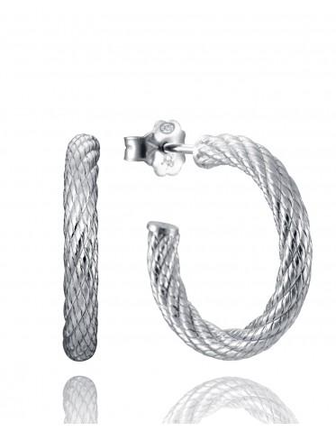Pendientes Viceroy mujer de plata  tipo aro con forma de cordón
