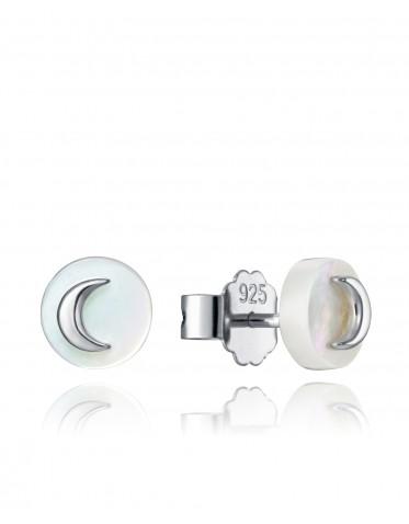 Pendientes Viceroy Comunión niña de plata tipo botón madreperla con luna