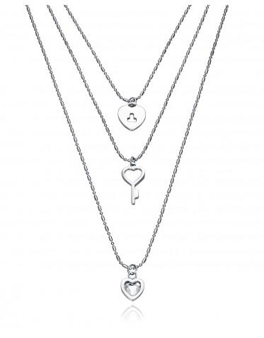 Collar triple Viceroy mujer de acero con motivos corazones