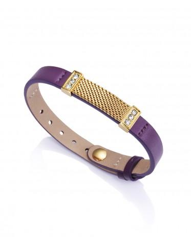 Pulsera Viceroy mujer de acero dorado y piel de color lila