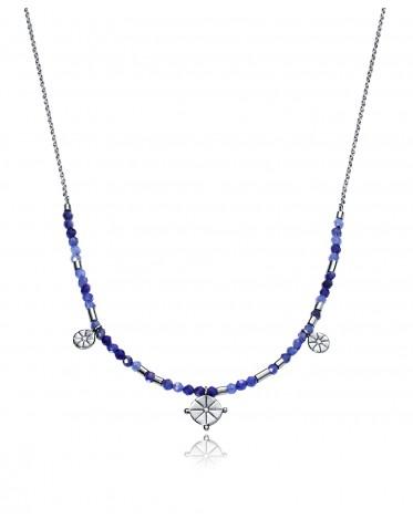 Collar Viceroy mujer de plata con sodalitas azules y motivos marineros