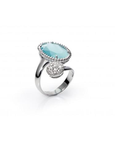 Anillo Viceroy mujer de plata con piedra azul aguamarina