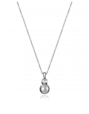 Collar Viceroy mujer de plata con colgante de circonita y perla negra