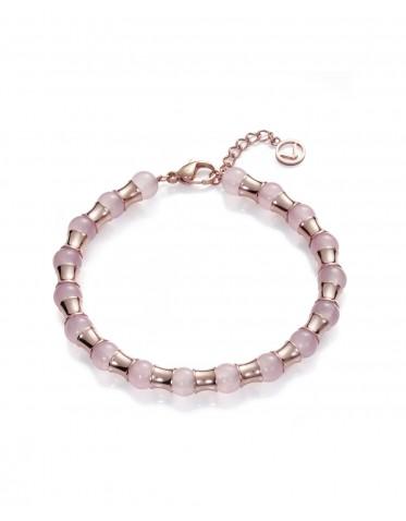 Pulsera Viceroy mujer de acero rosado con cuarzos naturales rosas
