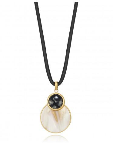 Collar Viceroy mujer de acero con colgante doble disco de resina blanca y negra
