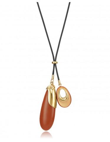Collar Viceroy mujer acero dorado con dos colgantes forma gota color rojo