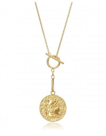 Collar Viceroy mujer de acero dorado con colgante tipo moneda