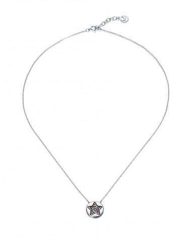 Collar Viceroy mujer plata con colgante circonitas multicolor formando estrella
