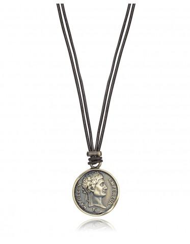 Collar Viceroy hombre de acero Ip dorado con colgante diseño moneda