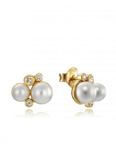 Pendientes Viceroy mujer de plata chapada oro con dos perlas