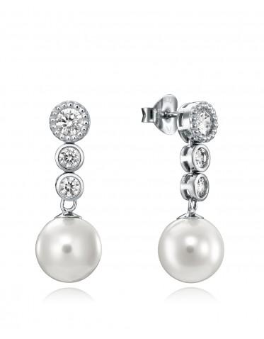 Pendientes Viceroy mujer plata con 3 circonitas y perla