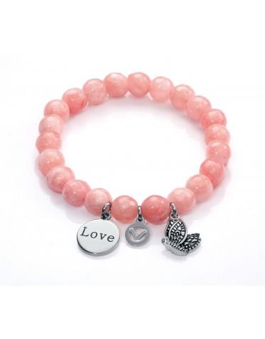 Pulsera Viceroy mujer de acero con piedras color rosa y 3 charms