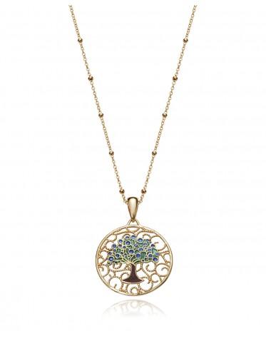 Collar Viceroy mujer plata chapada oro con árbol de la vida