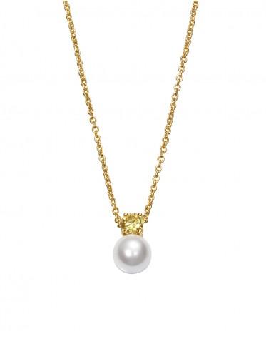 Collar Viceroy mujer de plata dorada con colgante de circonita color y perla