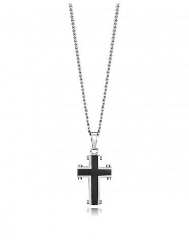 Collar Viceroy Magnum con colgante de cruz en acero bicolor en Ip Negro y cadena de 50cm