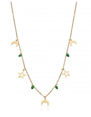 Collar de mujer Viceroy Popular de acero dorado con estrellas y lunas.