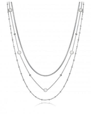 Collar triple Viceroy de mujer de acero con perlas sintéticas y bolitas