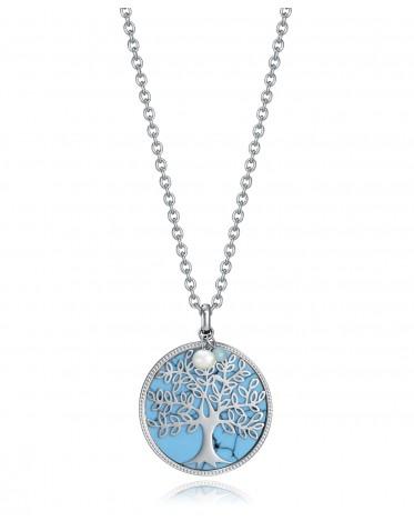Collar Viceroy mujer de acero con árbol de la vida sobre fondo azul