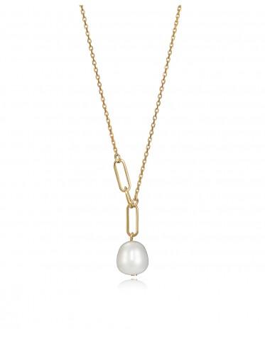 Collar Viceroy mujer de plata chapada en oro con perla cultivada.