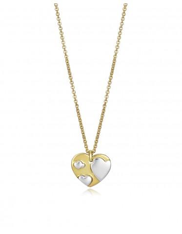 Collar Viceroy mujer de plata con motivo corazón bicolor.