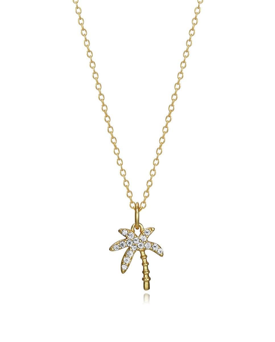 Collar Viceroy Trend de plata con baño de oro y colgante de palmera engastado con circonitas