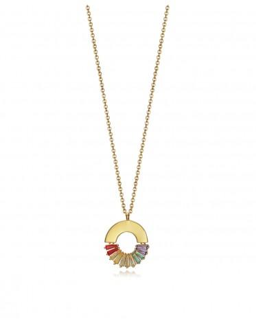 Collar Viceroy mujer de plata chapada en oro con motivo palmera.