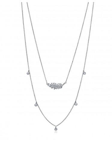 Collar doble Viceroy mujer plata con pluma central