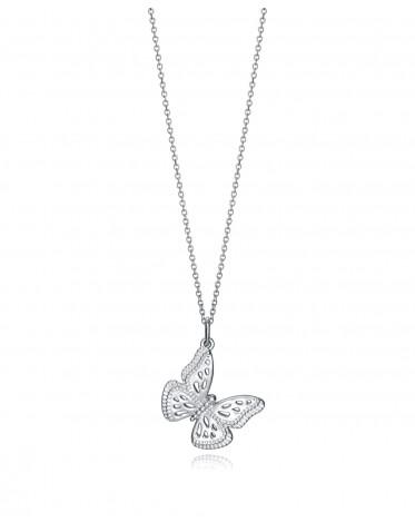 Collar Viceroy  mujer de plata con colgante mariposa.