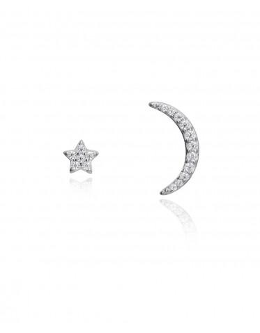 Pendientes Viceroy de mujer en plata con estrella y luna