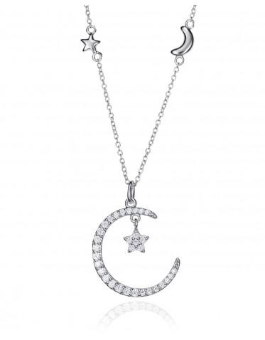 Collar Viceroy de mujer en plata con colgante forma luna