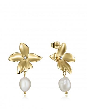 Pendientes Viceroy mujer en acero dorado forma flor con perla