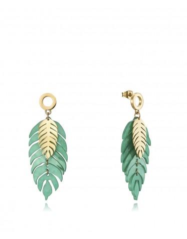 Pendientes Viceroy mujer en acero dorado forma de dos hojas