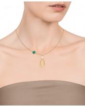Collar Viceroy mujer en acero dorado con cristal verde y perla