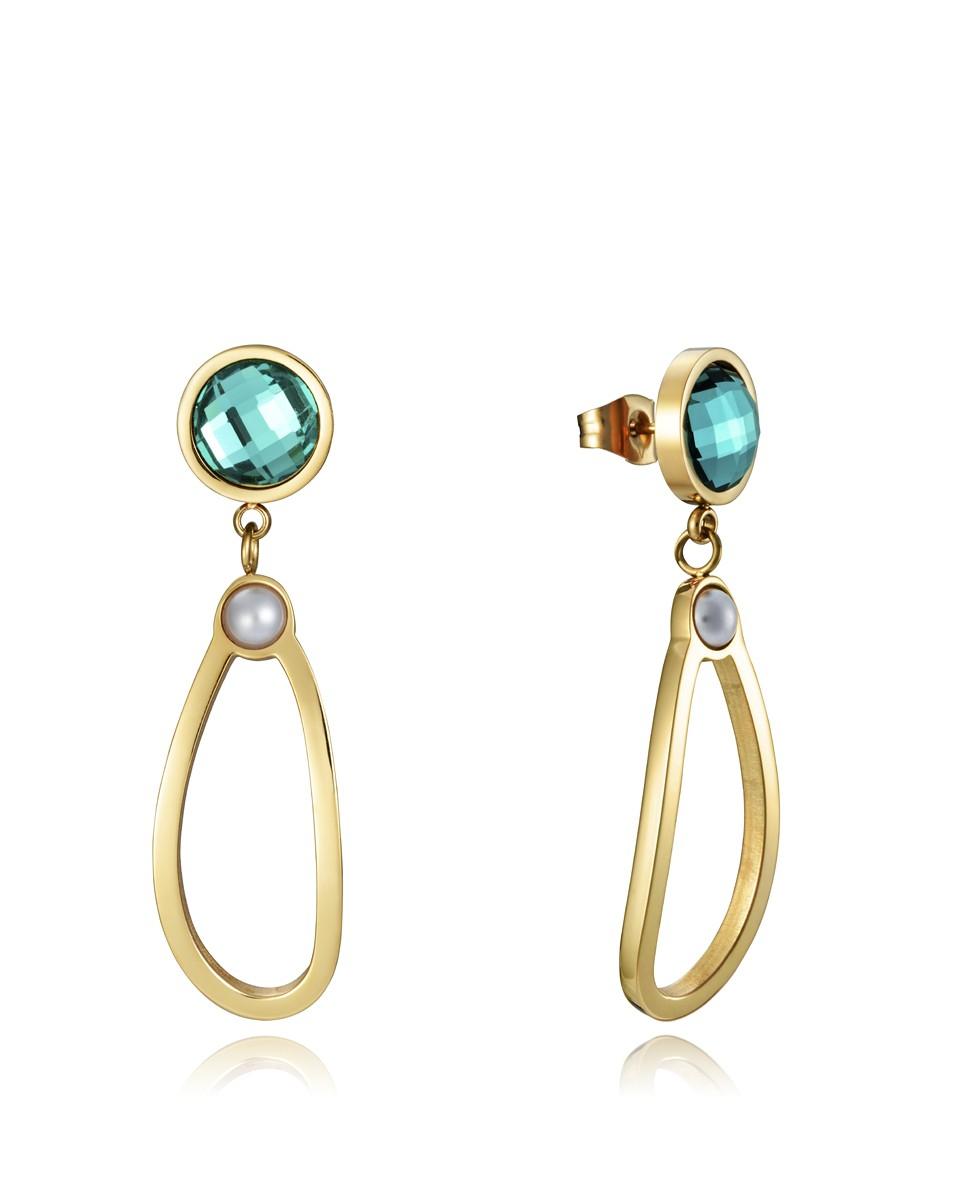 Pendientes Viceroy mujer en acero dorado con cristal verde y perla