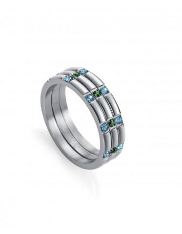 Sortija Viceroy de mujer de acero de 3 tiras circonitas azules y verdes