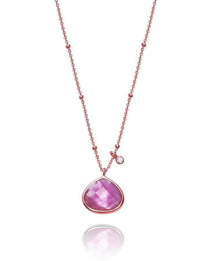 Collar Viceroy mujer en plata rosada con colgante cristal rosa