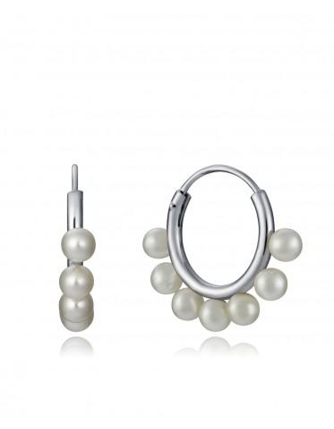 Pendientes Viceroy mujer de plata tipo aro con perlas