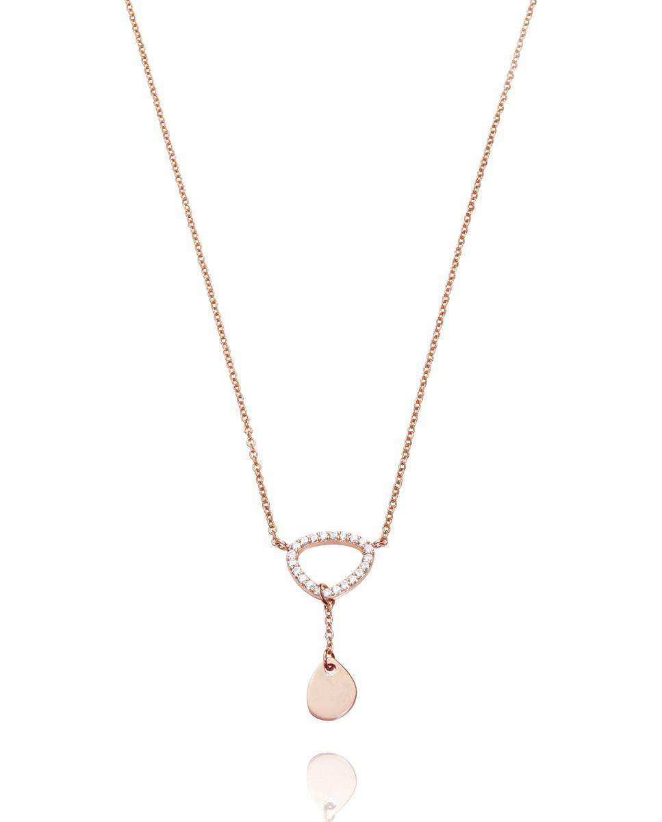 Collar Viceroy mujer de plata rosé con colgante dos piezas irregulares.