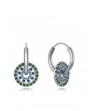 Pendientes Viceroy mujer de plata tipo aro con tonos azules y verdes