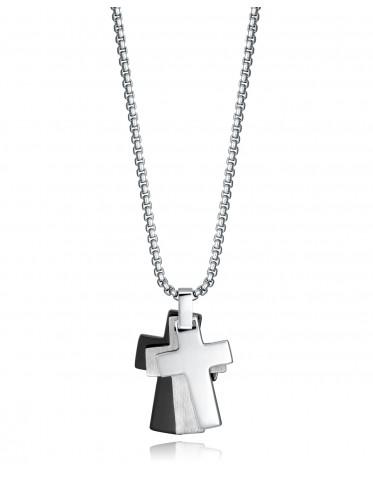 Collar Viceroy hombre de acero con tres cruces tricolor