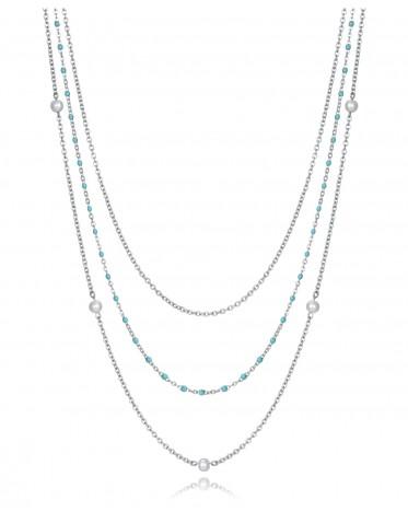 Collar triple Viceroy mujer de acero con turquesas y perlas sintéticas