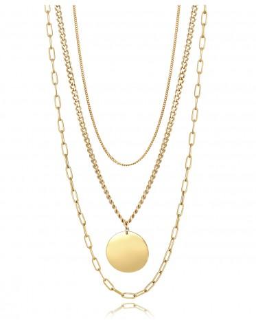Collar triple Viceroy mujer de acero dorado con colgante forma disco