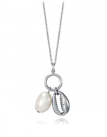 Collar Viceroy mujer de acero con charms de concha y perla natural