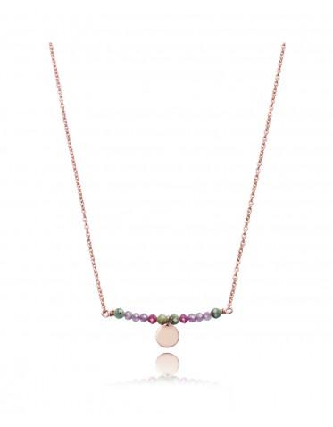 Collar Viceroy  mujer de plata rosada con centro de piedras varios colores