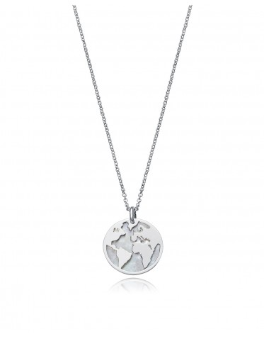 Collar Viceroy mujer de plata con colgante circular motivo mundo