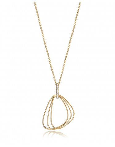 Collar Viceroy mujer de plata dorada con colgante de 3 aros semi triangulares